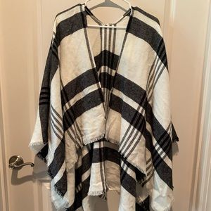 Black and White Plaid Blanket Sweater- One Size